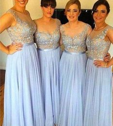 Wholesale Mini Brides Chiffon Dresses - 2017 Sky Blue Sheer Bridesmaid Dresses Chiffon Appliqued A-line Long Brides Maid Gowns For prom Bridesmaids Cheap Price Free Shipping