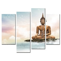 Wholesale Buddha Art Painting - 4 Pieces Canvas Paintings Art Buddha Painting White Clouds Canvas Wall Art Print For Home Decor as Gifts(Wooden Framed)