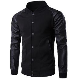 Chaqueta de cuero de los muchachos negro online-Al por mayor-Nueva tendencia negro Varsity Jacket hombres / Boy Bombers Veste Homme 2016 Moda Pu manga de cuero Slim College Baseball Jacket para el otoño