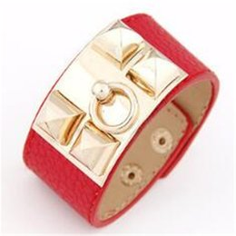 Wholesale Pyramid Faux - Cool Vintage Punk GOLD Stud Pyramid Faux Leather Wristband Rivet Bangle Clasp Bracelet Cuff Free Shipping