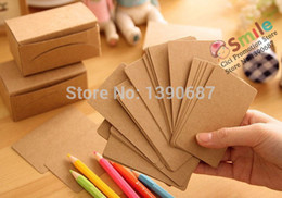 Wholesale Craft Paper Pads - Wholesale-DIY Craft Paper Card 100PCS SET Leaving Message Word Card Double Size Blank Cardboard Retro Greeting Card Memo Pad Lover BK10129
