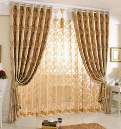 Wholesale Nice Hotel - New Arrival Jacquard Floral Curtain For Bedroom   Living Room Blackout Nice Pattern European Style Double-sided