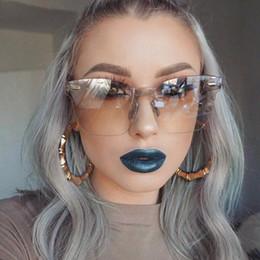Wholesale optic frames - New Transparent Sun Glasses women Sunglasses Gradient elegant Optics Rimless Lady New Oversized Party Brand Designer Ve055