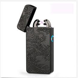 Wholesale Light Cigarette Lighter Rechargeable - Electric Dual Arc Flameless USB Rechargeable Windproof Plazmatic X Lighter Black