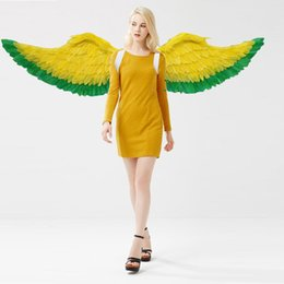 Wholesale Wings For Adult Costume - adults charming fairy wings yellow angel feather wings fit for T stage show Mall decoration creative shooting props EMS free shipping