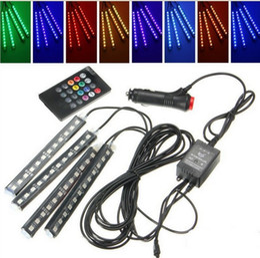 Levou atmosfera luz interior do carro solas luz RGB luz colorida atmosfera controle remoto LED colorido música ritmo luzes de Fornecedores de controle remoto toyota camry