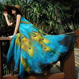 Wholesale Girls Ethnic Dresses - Women Lady Girls Casual Fashion Summer Peacock Print Silk Chiffon Dresses Bohemian Ethnic Wind Beach Dress 3005