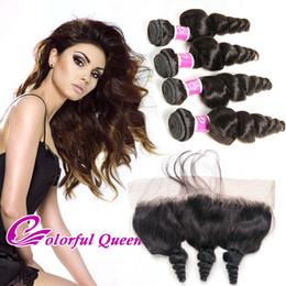 Wholesale Wholesale Lace Frontals - Colorful Queen Brazilian Loose Wave Human Hair Weave Bundles with Lace Frontal Closure Loose Wave Brazilian Virgin Hair with Lace Frontals