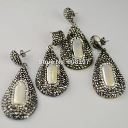 Wholesale Earring Findings Charms - Simple style ~ 4Pairs Pave Rhinestone Crystal Pearl Drop Shape Dangle Earrings in Mixed Color Snakeskin Jewelry Finding