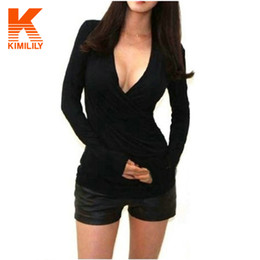 Wholesale Plus Size Tee Shirts Womens - Wholesale-Womens Casual T Shirt Sexy Slim Fit Wrap Deep V Neck Cross Long Sleeve Solid Color Blusas Tees Tops Plus Size # A6437
