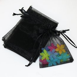 Wholesale Cheap Favor Bags Wholesale - 100ps 9x12cm Black Organza Bag Jewelry Pouch Gift Bags Wedding Favors and Gifts Cheap Organza Pouches Decoration