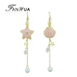 Wholesale Pink Shell Drop Earrings - Gold-Color Long Chain With Bead Drop Earrings Pink Blue White Star Shell Shape With Simulated pearl Dangle Earrings