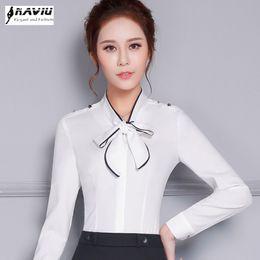 ffced00a48dd4 New elegant bow formal women shirt OL spring high quality long sleeve  choffin blouse office ladies plus size work wear slim tops