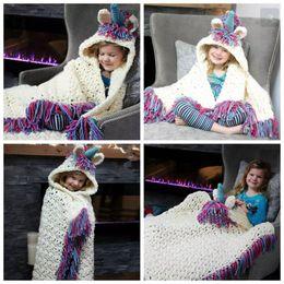 Wholesale Kids Blankets Cartoons - Baby Unicorn Cloak Blankets Hooded Hat Knitted Tassel Cartoon Swaddling Kids Sofa Soft Bedding Warm Blanket OOA3612