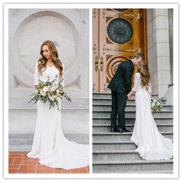 Wholesale Sheath Chiffon Bridal Wedding Dress - Vintage Modest Wedding Dresses With Long Sleeves Bohemian Lace Chiffon Wedding Gowns 2017 Country Wedding Dress Count train Bridal Gown