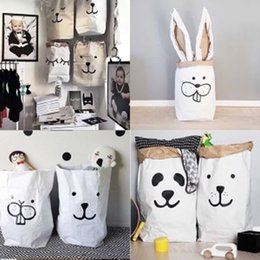 Wholesale Door Paper - Hot cartoon bear bags Clothing Storage bag craft paper laundry storage bags cartoon sleeping bear smile bear  rabbit