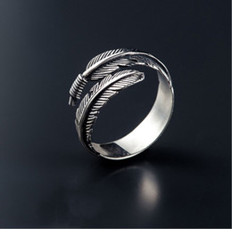 Wholesale Vintage African Men - New Fashion Designed Vintage Feather Ring Rerto Leave Ring Adjustable Leaf Ring For Man Woman Finger Wrap Jewelry