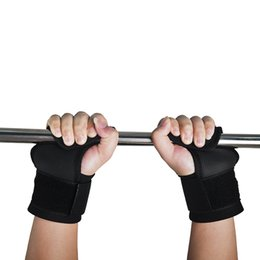 Wholesale Fitness Hooks - 1Pair Adjustable Fitness Wrist Support Weight Lifting Hooks Sport Training Gym Grips Straps Support Gloves 2501053