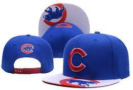 Wholesale Team Logo Baseball Hats - 2017 New Men's Blue Color Snapback Hats Team Logo Embroidery Sport Chicago Cubs Adjustable Baseball Caps With Print Visor