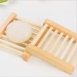 Wholesale Soap Dishes Bath - Natural Wood Soap Dish Wooden Soap Tray Holder Storage Soap Rack Plate Box Container for Bath Shower Plate Bathroom