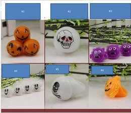 Wholesale Toy Bats Halloween - Halloween led pumpkin finger rings bat light lamp ghost skull glowing finger toy Party festival decoration children glowing toys