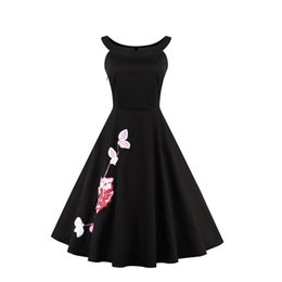 Wholesale China Tutu - Women's Scoop Neck Sleeveless Sexy 50s China Style Floral Embroidery Little Black Swing Tutu Rockabilly Evening Dress