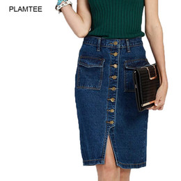 Wholesale Double Breasted Jeans - Womens Skirt Jeans Single Breasted Jupe Fashion Slim Fit Ladies Rokjes Elegant Solid Denim Skirts with Double Pocket Split Saias
