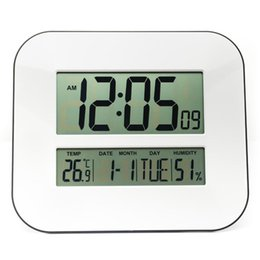 Wholesale Digital Humidity Clock - Big Number LCD Digital Wall Clock with Temperature Thermometer Humidity Hygrometer   Table Desktop Calendar Snooze Alarm Clock