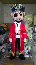 Wholesale Red White Pirate Costume - Pirate Captain mascot costume free shipping, cheap high quality carnival party Fancy plush walking buccaneer skipper mascot adult size.