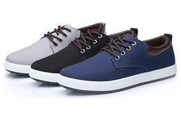 Wholesale White Shoes British - Men Shoes New 2017 Spring Canvas Men Casual Shoes Breathable Round Lace-Up Flats British Style Mens Shoes