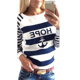 Wholesale Wholesale Ladies Sweatshirts - Wholesale-Women's Hoodies Hot Anchors Striped Causal Tracksuit Blue White Patchwork Sweatshirts Ladies Pullover 9455