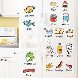 Wholesale Kitchen Door Glass Stickers - Cute cartoon stickers refrigerator glass ceramic tile dining-room kitchen cupboard door wall adornment wall stick to fruits and vegetables,