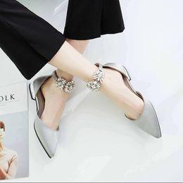 Wholesale Satin White Dress Sandals - Koovan Women Flats 2017 Spring Autumn New Pointed Flat Single Shoes Flat Buckle A Diamond Shoes Silk Satin Rhinestone Girls Sandals Leather