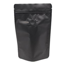 Wholesale vacuum valve - Black Retail 18*29cm 20Pcs Lot Matte Stand Up Pure Aluminum Foil Bag With Air Evacuation Valve Vacuum Seal Food Snack Pack Bags