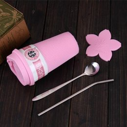 Wholesale Ceramic Mug Stainless Steel - Starbucks pink Sakura ceramic mug with cover High-capacity Heat insulation straw cup stainless steel spoon straw coaster