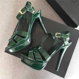 Wholesale 14cm Heels White - Brand Patent leather Army Green Tribute Sandals 10cm 14cm Thin high heels Genuine leather Sexy Open toe Summer T Show Dress Pumps Size 41