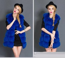 Wholesale Faux Fur Shop - on sale 2017 new autumn & winter Imitation fox fur coats women vest coat blue free shopping