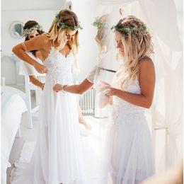 Wholesale Designer Wedding Gowns Chiffon - Cheap White Beach Wedding Dresses Summer 2017 Open Back Lace Bridal Gowns Handmade Western Designer Straps Robe De Mariage