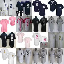 Wholesale Pink Browning T Shirt - 2017 Men Women Kids New York Yankees Derek JETER mother Throwback Cool Flex Baseball Jerseys Stitched T-shirts XS-6XL Grey White Blue Pink