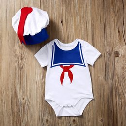 Wholesale Baby Rompers Navy - Baby Little Boy Rompers Hot Sale Casual Newborn Navy Style Clothing Baby Boys Clothes Romper+Hat Sets Summer Short Suits Bodysuit Jumpsuit