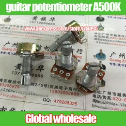 Wholesale Guitar Length - Wholesale- 3pcs Instrument guitar potentiometer single joint A500K   handle length 20MM flower axis hole foot yellow shell