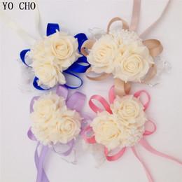 Wholesale Corsages For Bridesmaids - Yo Cho Wholesale 10Pcs Lot Wrist Corsage Bridesmaid Sisters Hand Flowers Artificial Bride Flowers For Wedding Party Decoration
