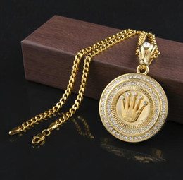 Wholesale Long 24k Gold Filled Chain - Hip Hop 24K Gold Plated King Crown Pendant Iced Out Round Bling Crystal Pendant Necklace Long Cuban Chain for unisex Jewelry