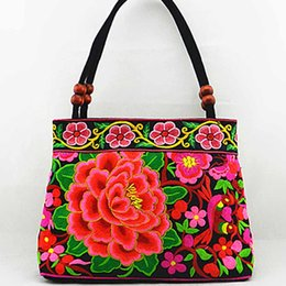 Wholesale Wholesale Coffee Bags Handbags - Wholesale-National trend embroidery bags Women double faced flower embroidered one shoulder bag Small handbag