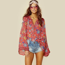 Wholesale Beach Birds - RED Boho blouses 2017 autumn birds floral print blouses Vinatge o-Neck flare long Sleeve Bohemian beach holiday seaside women blouses tops