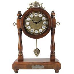 Wholesale Circular Decoration - Wholesale-New 2016 Fashion Retro classic European style desk clock wooden Vintage home antique Relogio De Mesa decoration Desk clocks KZ05