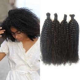 Wholesale Mongolian Kinky Curly Hair 4pcs - 4pcs Kinky Curly Human Braiding Hair No Weft 100% Human Hair Natural Brazilian Bulk Hair G-EASY