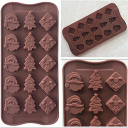 Wholesale Silicone Soap Molds Trees - Christmas Series Silicone Baking Chocolate Molds Santa Claus Head Gift Box Christmas Tree Cold Handmade Soap Mold