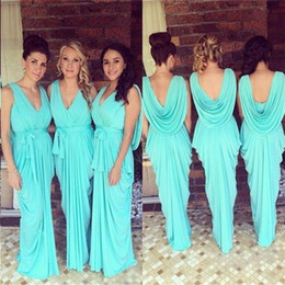Wholesale Dresses For Bridemaids - 2017 Cheap Bridesmaid Dresses Sheath Column V-neck Chiffon with Ruffles Sexy Blue Long Prom Dress for Bridemaids Weddings Party Dresses