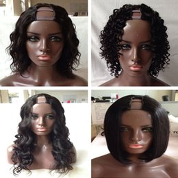 Wholesale U Part Wig Styles - 4 Style U Part Human Hair Wigs Curly Wave Bob Unprocessed Brazilian Hair U Part Wig 1*3 U part Wig Human Hair For Black Woman